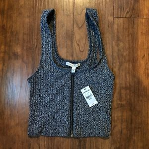 Cropped Front-Zipper Tank